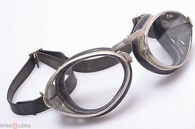Vintage, Antique Motorcycle Steampunk Nickel Plated Goggles, Aviator Glasses