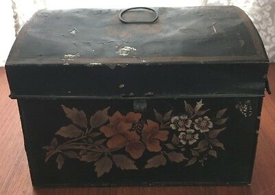Antique Tin Toleware Painted Dome Topped Box