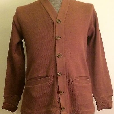 Rugby Knitting Mills Sportswear Vintage 40s Mens Small Wool Cardigan Sweater