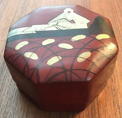 Antique Japanese Reddish-Brown Lacquered Octagon Lidded Box