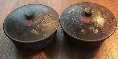 2 Matching Antique Japanese Lacquered Lidded Bowls