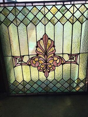 Sg 1273 Antique Stainglass Landing Window With Red Jewels 35 X 36.5