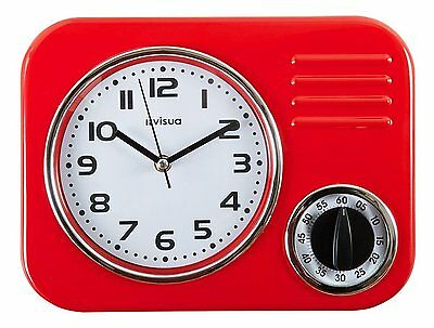 Metal Kitchen Wall Clock • Retro Styling • Mechanical Cooking Timer • Red