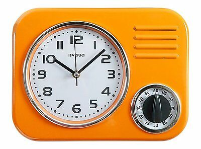 Metal Kitchen Wall Clock • Retro Styling • Mechanical Cooking Timer • Orange