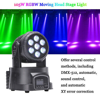 2PCS RGBW 70W LED Moving Head Stage Lighting DMX-512 DJ Disco Party Light+Remote