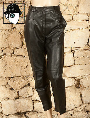 VINTAGE 80s BOOT LENGTH LEATHER TROUSERS - UK 10 - (Q)