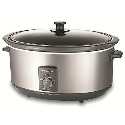 Stainless Steel Oval SLOW COOKER W/ Removable Ceramic Pot Toughened Glass Lid