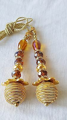 9cm- Beautiful Gold beaded diamante latkan tassel for DIY decor crafts