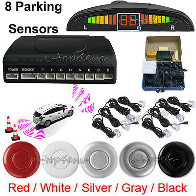 LED Display Car Reverse 8 Front Rear Parking Sensors System Buzzer Alarm Aid Kit