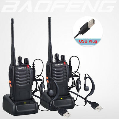 2x BaoFeng BF-888S Walkie Talkie UHF 400-470MHZ 2-Way Ham Radio 16CH Long Range