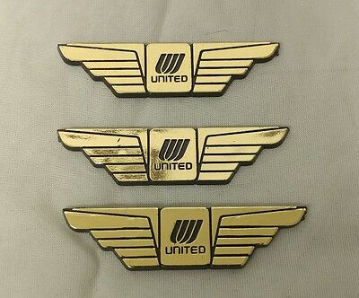Lot of 3 VINTAGE United Airlines Gold and Black plastic JR Pilot Wings