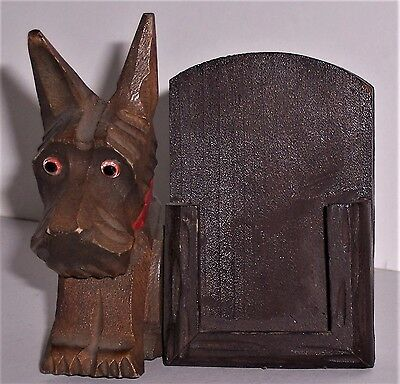 Scottie Stand Card Picture Holder Terrier Dog Scotty Japan Wood