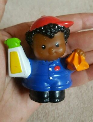 Fisher Price Little People Mattel Cute Kids Black Haired Boy w bottle and rag