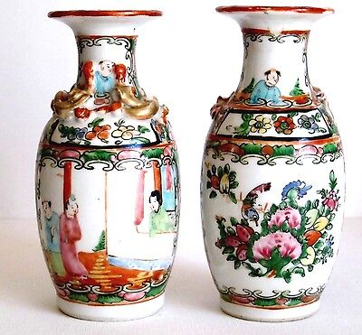 Pair of Antique Chinese Porcelain Famille Rose Medallion Vases c1900 Very Nice