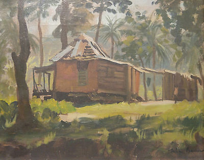 Original Signed Oil Painting Julian Barrow Florida House