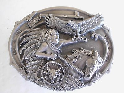 Chief Eagle Feather Belt Buckle Vintage Native American Indian, Made In Usa
