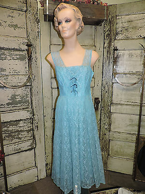 Vintage 1950's teal lace party dress, handmade, sz. 6 ish