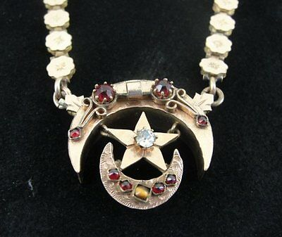 Old Victorian Gold Fill Link Star Crescent with Stones Pendant Necklace