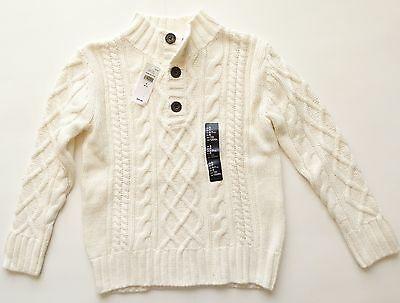 New Gap Kids long sleeved chunky knit sweater boys size small 6 7 ivory
