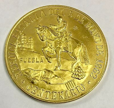 1962 Centennial of the Battle of the 5th of May Gold Coin Medal. c#2