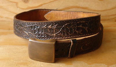 Vintage Don Hume Brown Tooled Leather Belt w/Removable Buckle Size 34