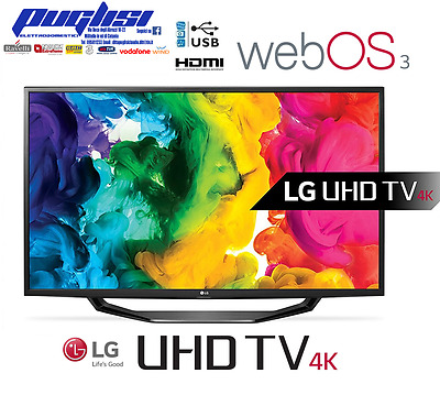 "SMART TV LED 49"" pollici LG 49UH6207 ULTRA HD 4K WIFI DVB-T2 DVBS2 1200Hz HDMI"