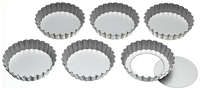 KitchenCraft Stainless Steel Fluted Tartlet Tins with Loose Bases, 10 cm (Set of