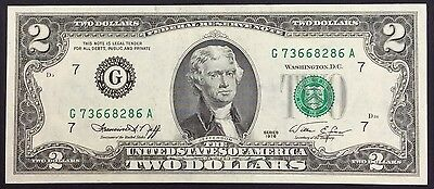 1976 $2  United States Banknote - aUNC - G 73668286 A   - small flick on corner