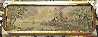 """""""dutch Country Side"""" Woven Tapestry 24""""x62"""" Framed In Tempered Glass  -31"""