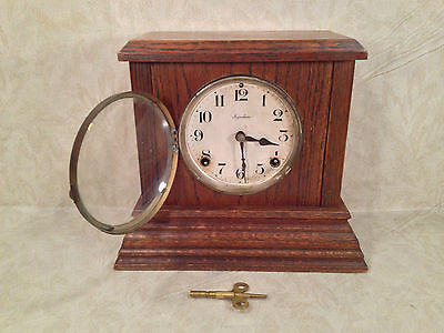 Ingraham Oak Mantel Clock Colgate Model Great Case Concave Glass Runs Strikes
