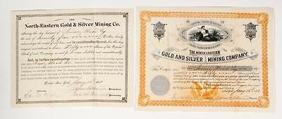 NORTH-EASTERN GOLD & SILVER MINING CO. ~ 1881 Stock Certificates