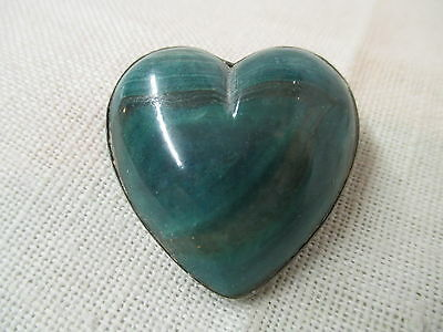 Vintage Mexico Silver Brooch Malachite Heart