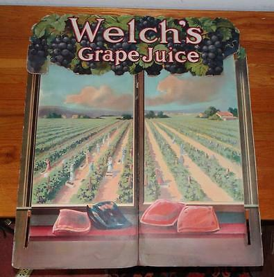 """ca1920's """"WELCH'S GRAPE JUICE"""" 3-pcs. CARDBOARD STORE ADVERTISING DISPLAY SIGN"""