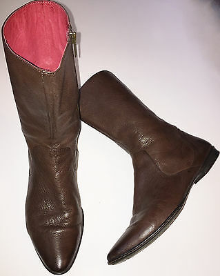 BORN Brown Leather Mid Calf Boot Size 9 M