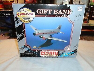 Golden Classic Gift bank die cast metal Pepsi plane with stand 1996 new in box
