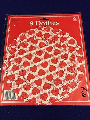 Valentines Love Doilies Napperons Amscan Set of 8 Lace paper hearts Red Pink VTG