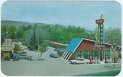 WY RAWLINS Wyoming ca.1960s IDEAL MOTEL Cadillac Convertible US 30 UNUSED VG+