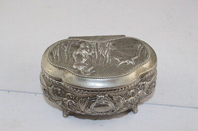 Antique Vintage Japanese SilverTone Metal Trinket Jewelry Box Red Velvet Lined