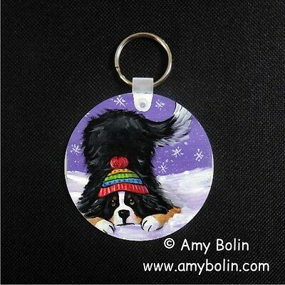 BERNESE MOUNTAIN DOG BMD PLAYFUL PUP  key chain  by Amy Bolin