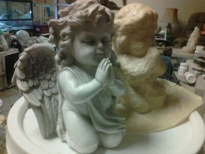 Winged Cherub praying Mold Latex for Concrete , Plaster even Wax