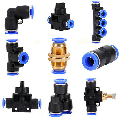 32 Size Pneumatic Push In Fittings Air Valve Water Hose Pipe Connector Joiner SP