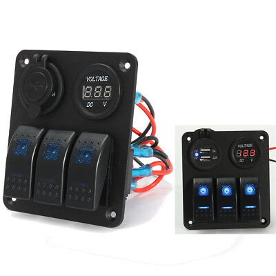 3 Gang LED Rocker Switch Panel 2 USB Charger Power Socket Voltmeter Marine Boat