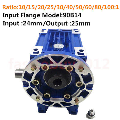 Worm Gearbox 063 Speed Reducer 90B14 15 20 30 40 50 60 100:1 Asynchronous Motor
