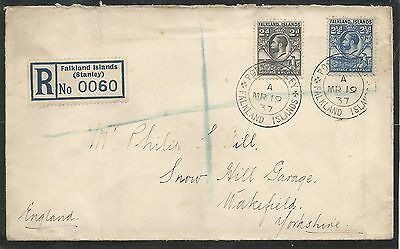 Falkland Is Cover Sent To Wakefield From Port Stanley Ps 2 A  Postmarks Mr.19.37