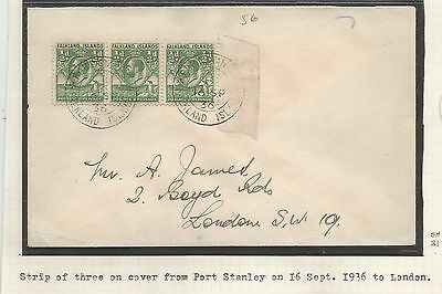 Falkland Is Cover From Port Stanley 16Th Sept 1936 To London Franked Strip Of 3