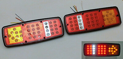 Pair 24V Led Rear Tail Light Lamps Trailer Caravan Tractor Lorry Truck 33Led