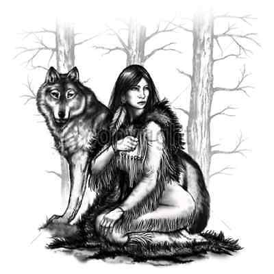 Native American Woman & Wolf T Shirt & Tank Tops All Sizes & Colors (741)
