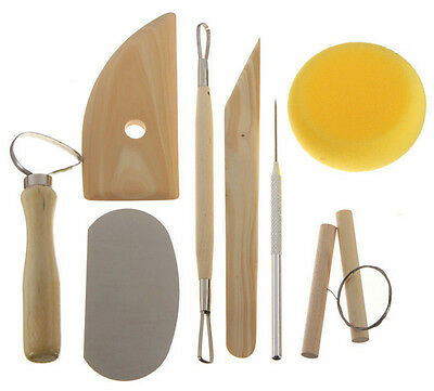 8 Pottery Clay & Ceramic Sculpting Boxwood Ribbon Tools & Wire Cutter Sponge Uk