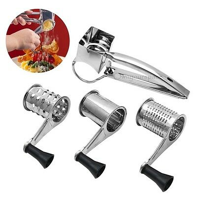 Stainless Steel Rotary Cheese Chocolate Grater 3 Drums Slicer Shredder Kitchen