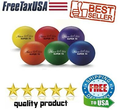 Set of 6 Dodgeball Foam Balls 2-1/2 Assorted Colors Sports Dodge Ball Soft Skin